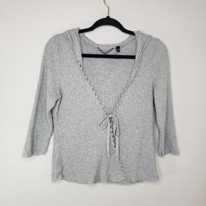 Knitted and Knotted gray waffle knit tie front top